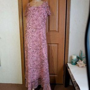 Boho gypsy pink paisley print maxi dress Plus size